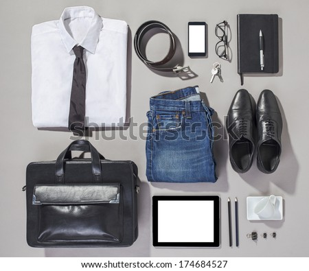 Overhead of essentials modern man. Outfit of business man.  - stock photo