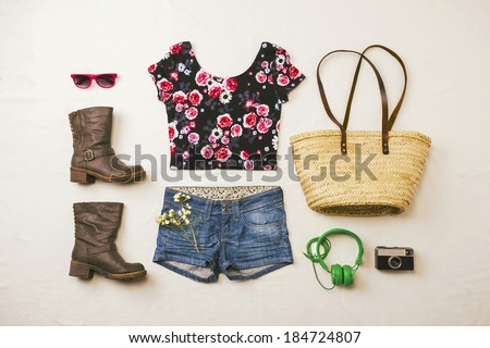 Overhead of essentials spring woman. Outfit of casual and modern woman.  - stock photo