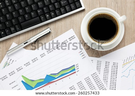 Overhead of office desk - stock photo