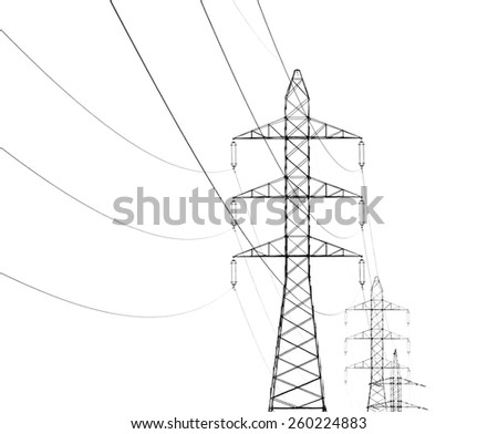 overhead power line isolated on white background - stock photo