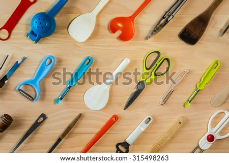 overhead shot image of kitchen equipments background - stock photo