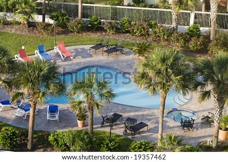 Overhead shot of a beach getaway - stock photo