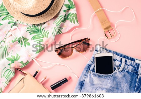 Overhead shot of female casual clothes - stock photo