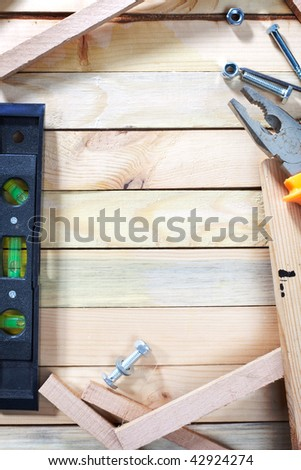 Overhead shot of work table with empty space in the middle for your text - stock photo