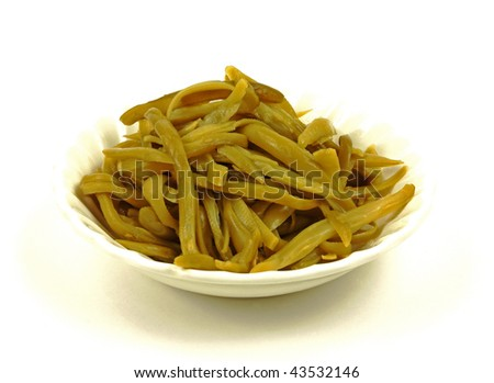 Overhead view green beans - stock photo