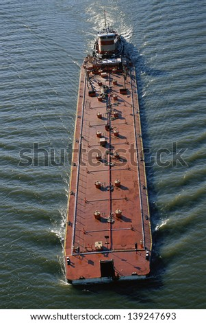 Overhead view of a barge - stock photo