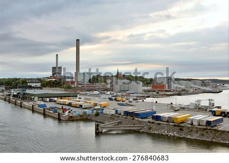 Overhead view of a harbor - stock photo