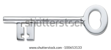 overhead view of a silver door key isolated on white (clipping path) - stock photo