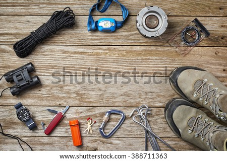 overhead view of camping gear items - stock photo
