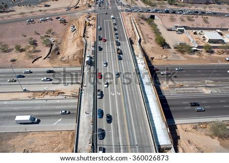 Overhead view of freeway overpass bridge construction - stock photo