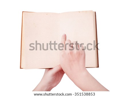 overhead view of hands holding a old book  with copy space ready for text, isolated on white, with clipping path - stock photo