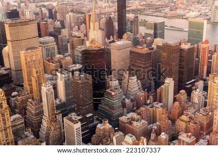 overhead view of manhattan skyline at sunset, NYC - stock photo