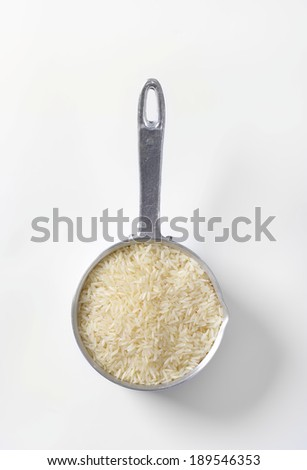 overhead view of pot with jasmine rice - stock photo