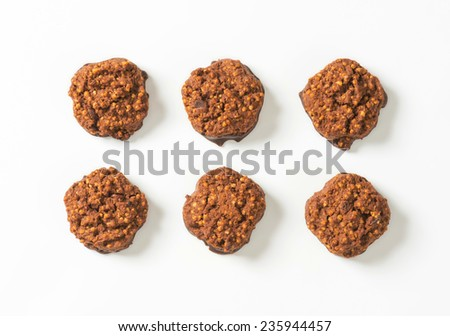 overhead view of six chocolate chip cookies - stock photo