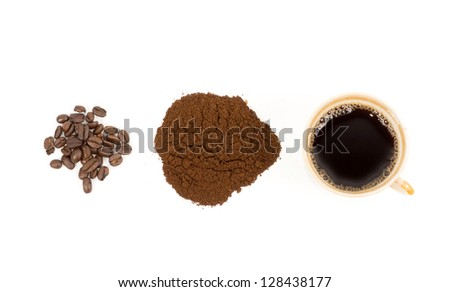 Overhead view of the steps in preparing a cup of fresh filter coffee from roasted coffee beans, to freshly ground coffee to an aromatic cup of hot brew on white - stock photo