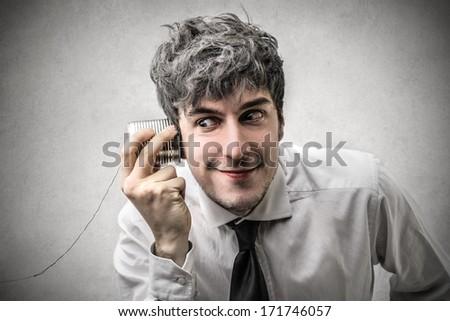 overhearing - stock photo