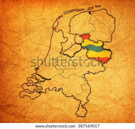 overijssel flag on map with borders of provinces in netherlands - stock photo
