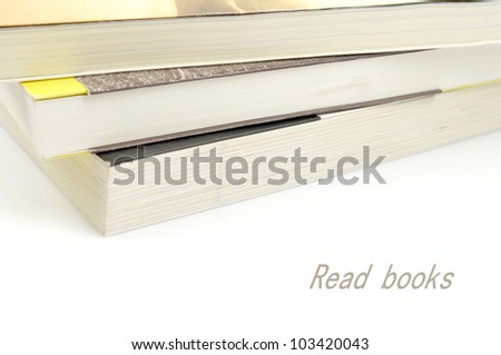 Overlapping of several books - stock photo