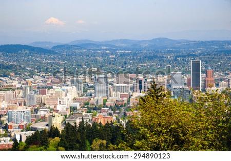 Overlook at Pittock Mansion, Portland - stock photo