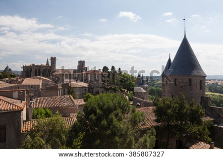 overlook of City of Carcassonne  - stock photo
