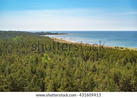 Overlook on coastline and coniferous forest of Hiiumaa island, Estonia - stock photo