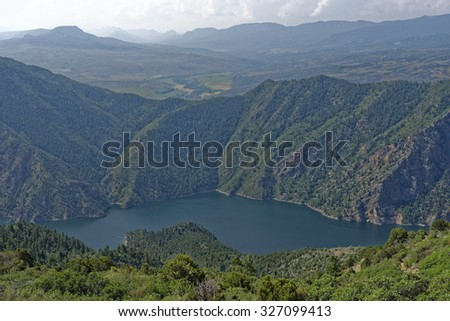 Overlook view of Morrow Point Reservoir in the Black Canyon of the Gunnison National Park near Montrose, Colorado, U.S.A. - stock photo