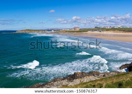 Overlooking Fistral Beach Newquay Cornwall England UK - stock photo