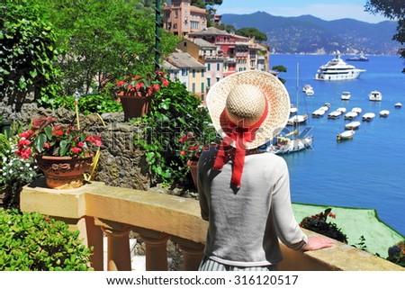 Overlooking Portofino - stock photo