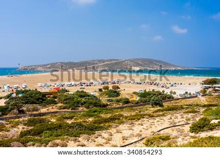 Overlooking Prasonisi Cape on  Rhodes Island  Greece Europe - stock photo