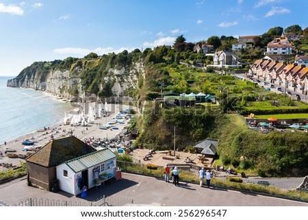 Overlooking the beach and cliffs at Beer in Lyme Bay Devon England UK Europe - stock photo