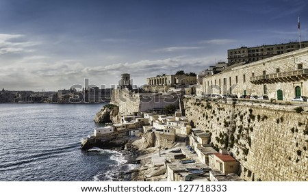 Overlooking the Great Harbor of Valletta is the Siege Bell Memorial erected in 1992 to honour over 7000 people who lost their lives in the WW II Siege of Malta, 1940 �¢??1943. - stock photo