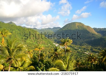 overlooking the hills of Santa Lucia, Caribbean - stock photo