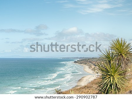 Overlooking the Pacific Ocean on the Guy Fleming Trail, at Torrey Pines State Natural Reserve, California - stock photo