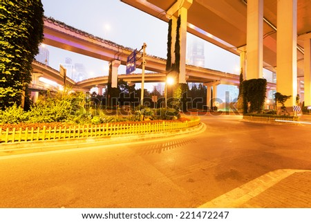 overpass bridge, low angle view at shanghai china - stock photo