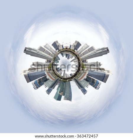 Overpopulated Tiny little planet with skyscrapers on core and other world under it. - stock photo