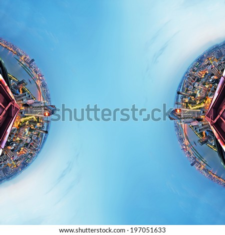 Overpopulated urban planet covered in city buildings - stock photo