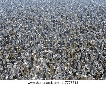 Overpopulation Computer generated 3D illustration - stock photo