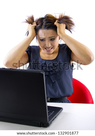 overspending. woman frustrated because accounts online are overdrawn. isolated on a white background. - stock photo