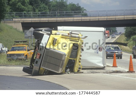 Overturned big rig on Route 66, Virginia - stock photo