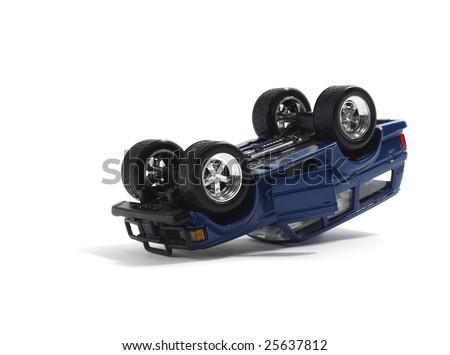 Overturned Model Vehicle - stock photo