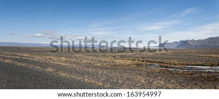 overview in the desert of stones in Iceland - stock photo