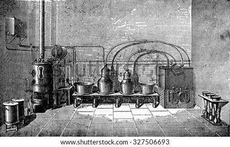 Overview of a medium-sized factory liqueurs, vintage engraved illustration. Industrial encyclopedia E.-O. Lami - 1875. - stock photo