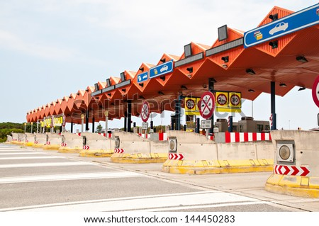 Overview of a toll zone on a highway - stock photo