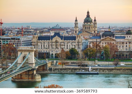 Overview of Budapest with St Stephen (St Istvan) Basilica in Budapest, Hungary - stock photo