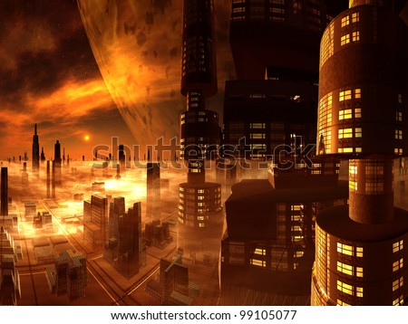 Overview of Futuristic City and Moon from Skyscraper Tower - stock photo