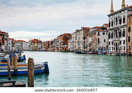 Overview of Grand Canal in Venice, Italy on an overcast day - stock photo