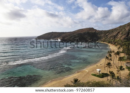 Overview of Hanauma Bay, Oahu Hawaii where you can go snorkelling and diving just off shore. - stock photo