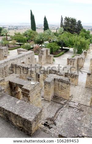 Overview of Madinat al-Zahra in Cordoba - Spain - stock photo