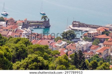 Overview of Nafpaktos harbor, Greece - stock photo