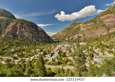 overview of ouray colorado village in early autumn - stock photo